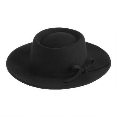 Small Black Flat Top Hat With Bow Trim