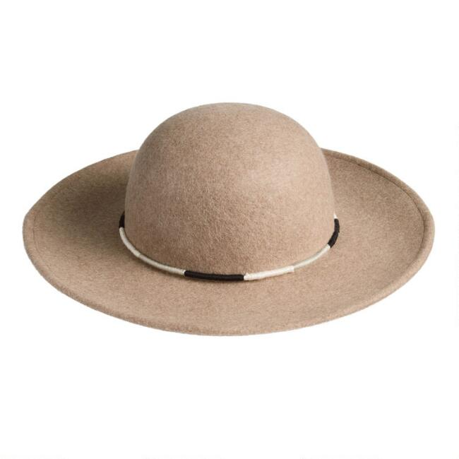 Tan Wool Floppy Hat With Wrapped Cord Trim