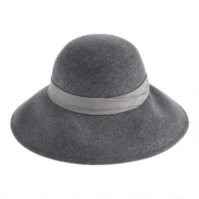 Gray Wool Cloche Hat With Faux Suede Trim
