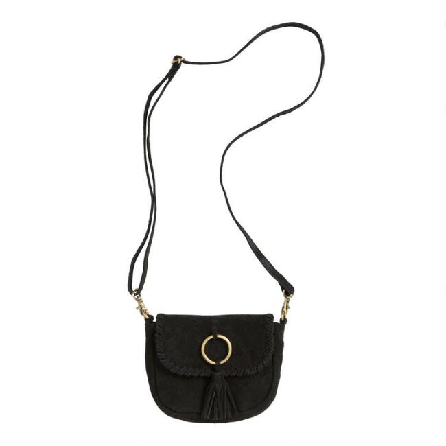 Black Suede Convertible Clutch, Crossbody And Belt Bag