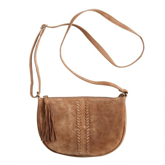 Small Tan Suede Crossbody Bag