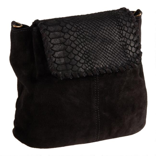 Black Faux Snakeskin Convertible Backpack and Crossbody Bag
