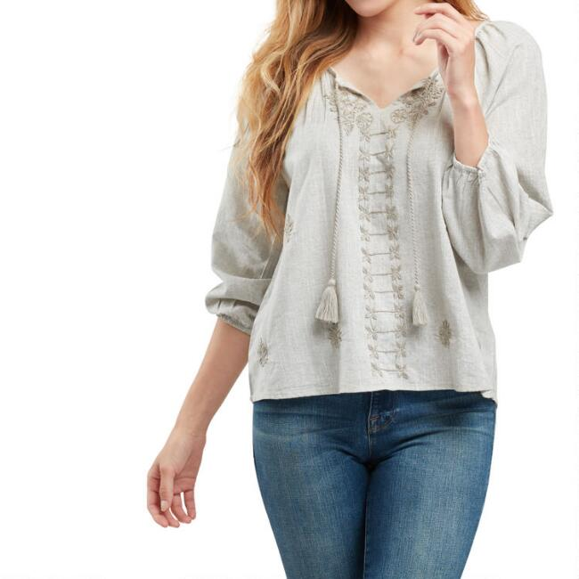 Dove Gray Floral Embroidered Bree Top