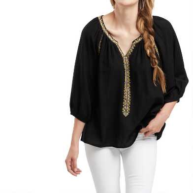 Black, Gold And Ivory Geo Embroidered Laurel Top