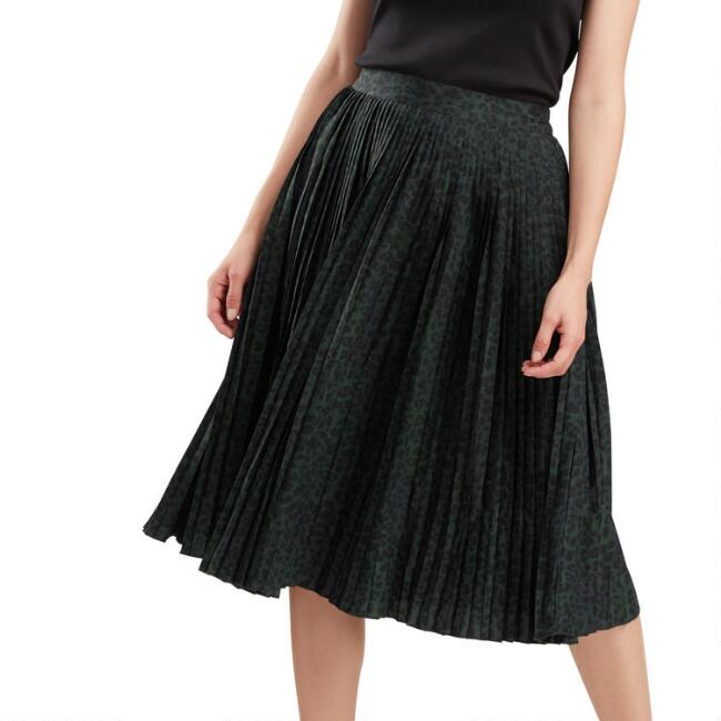 Black And Emerald Leopard Print Pleated Skirt