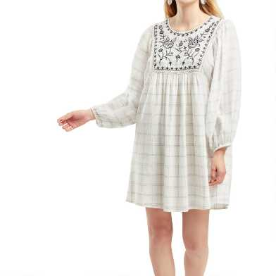 Black And White Floral Embroidered Windowpane Dress