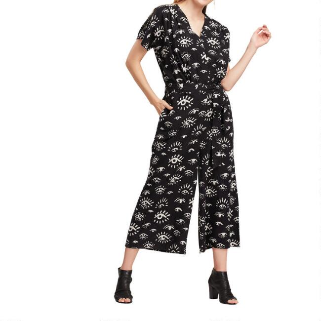 Black And White All Seeing Eye Jumpsuit With Pockets
