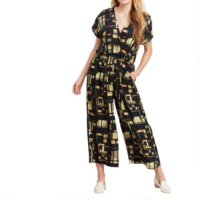 Geometric Wide Leg Crissy Jumpsuit With Pockets
