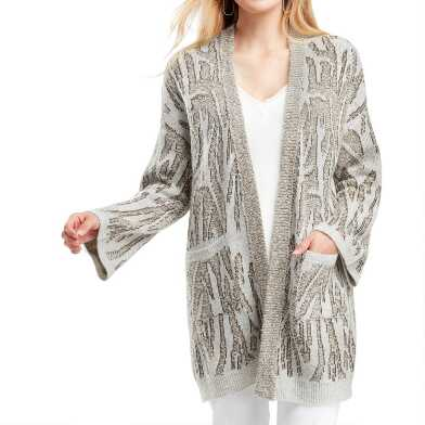 Pale Gray And Tan Abstract Animal Print Sofi Sweater