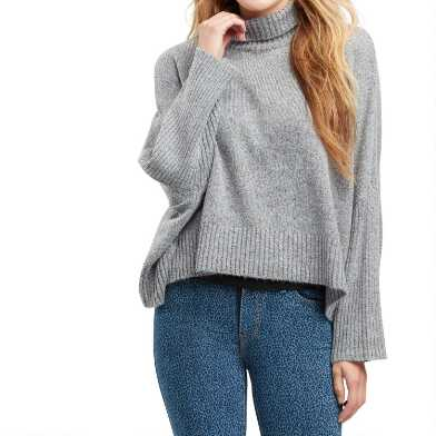 Gray Ribbed Knit Funnel Neck Sweater