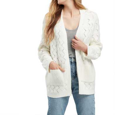 Ivory Scallop Weave Riley Sweater