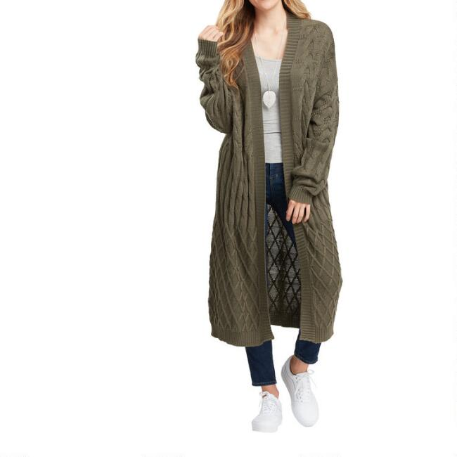 Olive Green Chunky Mixed Knit Duster Sweater