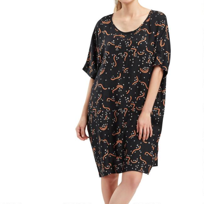Black And Terracotta Abstract Geometric Dress With Pockets