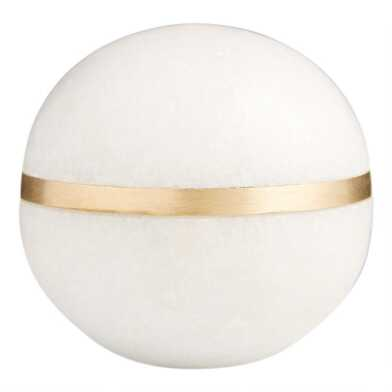 Marble Sphere With Brass Inlay Decor