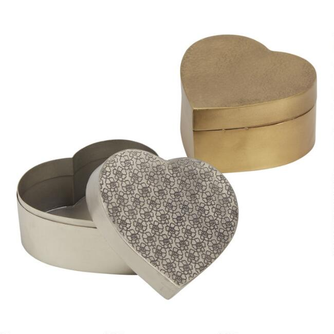 Etched Metal Heart Boxes Set Of 2