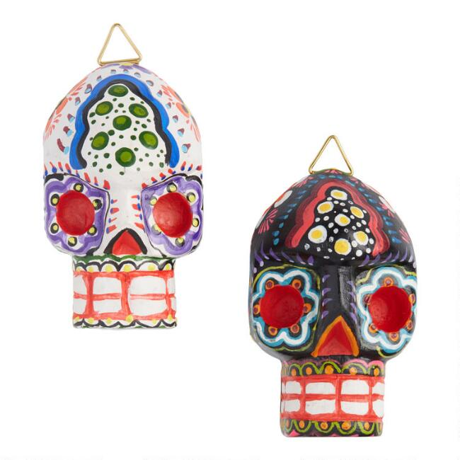 Painted Wood Mayan Skull Hanging Decor Set Of 2