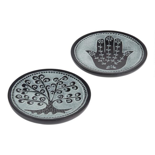 Soapstone Hamsa And Tree Trinket Dishes Set Of 2