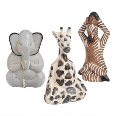 Wood Yoga Safari Animals Set Of 3