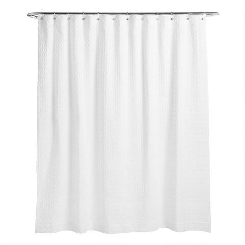 White Waffle Wide Weave Shower Curtain, Wide Shower Curtain