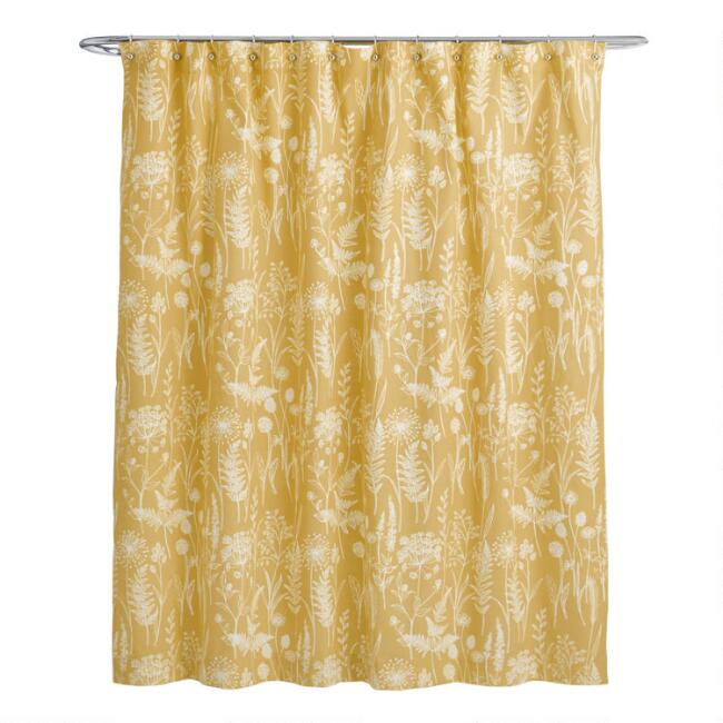 Mustard Yellow Botanical Wildwood Shower Curtain