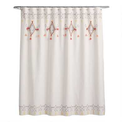 Multicolor Diamond Tassel Idra Shower Curtain