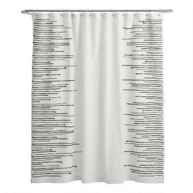 Black and Ivory Applique Lines Leigh Shower Curtain