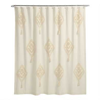 Ivory Tufted Diamond Tassel Yana Shower Curtain