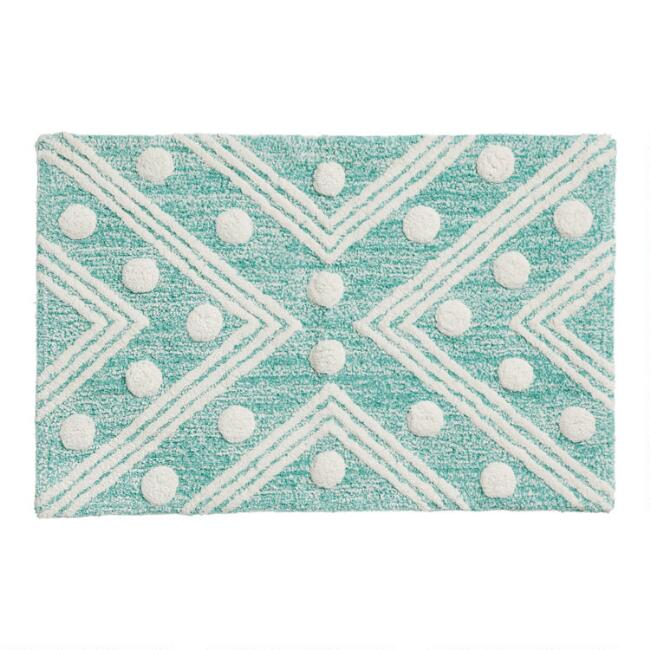 Teal Tufted Dot Geometric Bath Mat