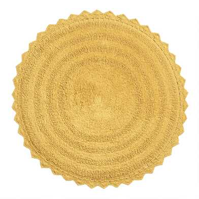 Round Mustard Yellow Cotton Bath Mat