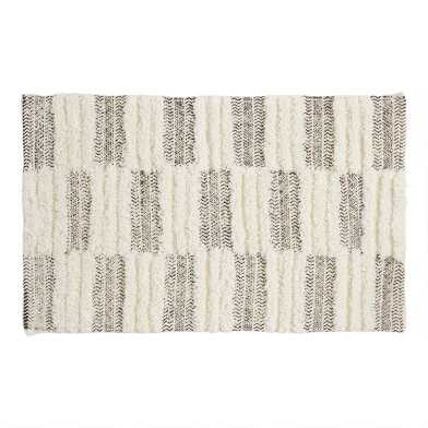 Black and Ivory Tufted Stripe Bath Mat