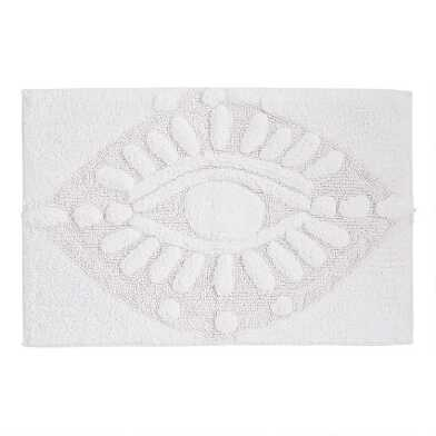 White Tufted Eye Bath Mat
