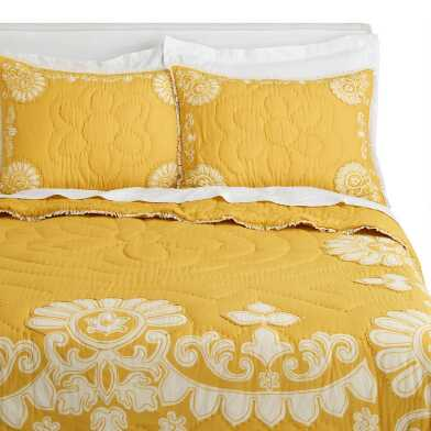 Mustard and Ivory Floral Sol Bedding Set