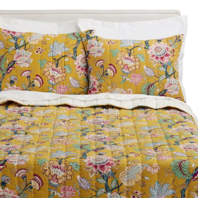 Mustard Yellow Botanical Eden Quilt