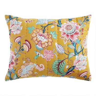 Mustard Yellow Botanical Eden Pillow Shams Set of 2