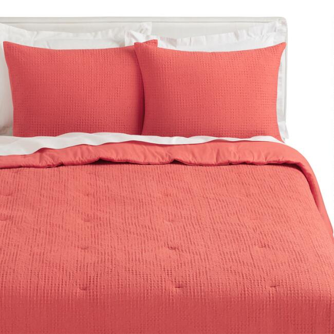 Coral Diamond Waffle Weave Sienna Quilt