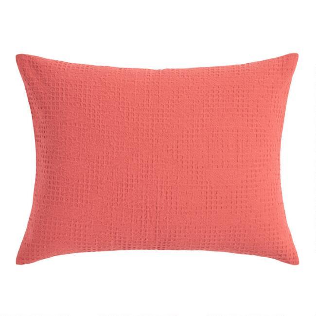 Coral Diamond Waffle Weave Sienna Pillow Shams Set of 2