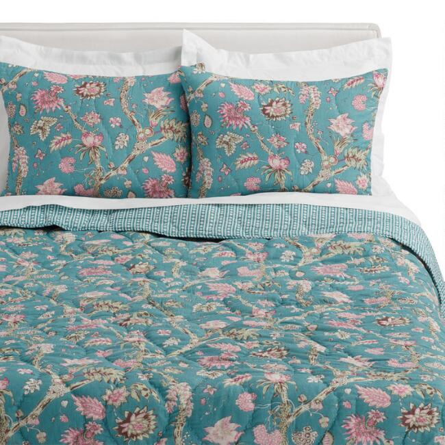 Teal and Pink Stonewashed Floral Mila Reversible Quilt