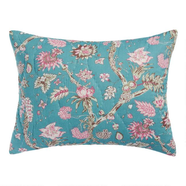 Teal and Pink Stonewashed Floral Mila Pillow Shams Set of 2