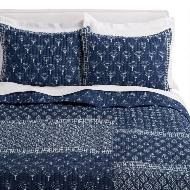 Indigo Patchwork Block Print Udaipur Bedding Set