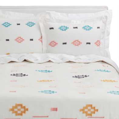 Multicolor Clipped Jacquard Amira Bedding Set