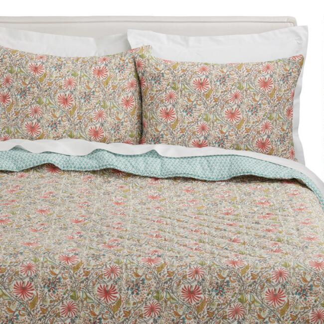 Coral and Teal Floral Liana Reversible Quilt