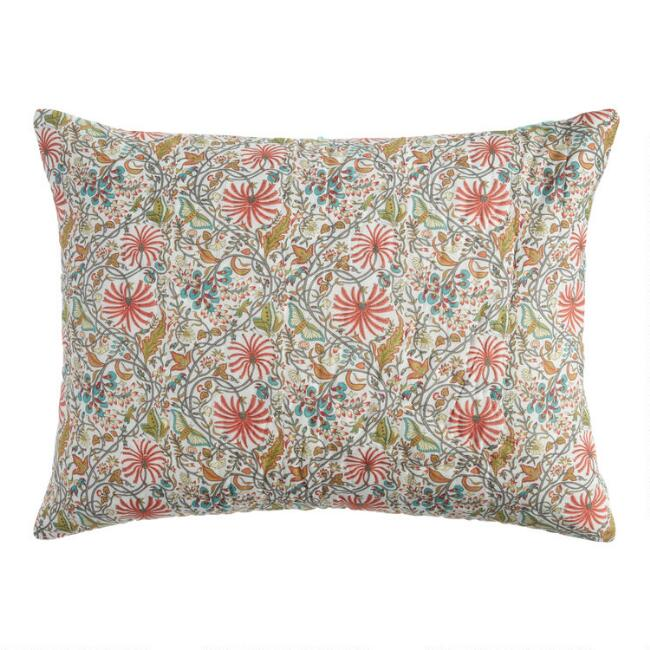 Coral and Teal Floral Liana Pillow Shams Set of 2