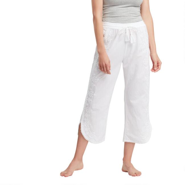 White Embroidered Dali Pajama Pants