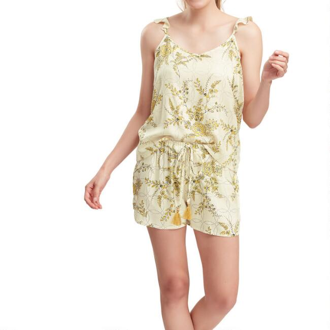 Cream and Golden Yellow Floral Annalisa Pajama Collection