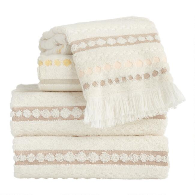 Ivory, Blush and Taupe Dots and Stripes Ayla Towels