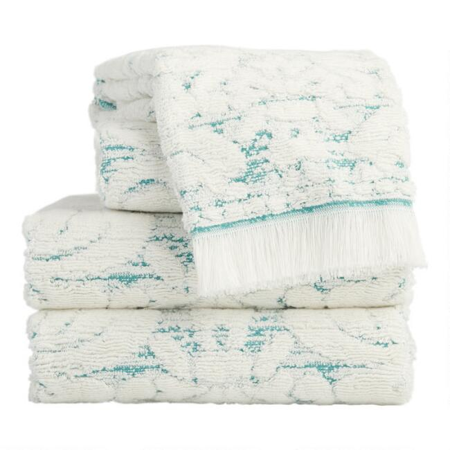 Aquamarine and Ivory Baroque Lara Towels