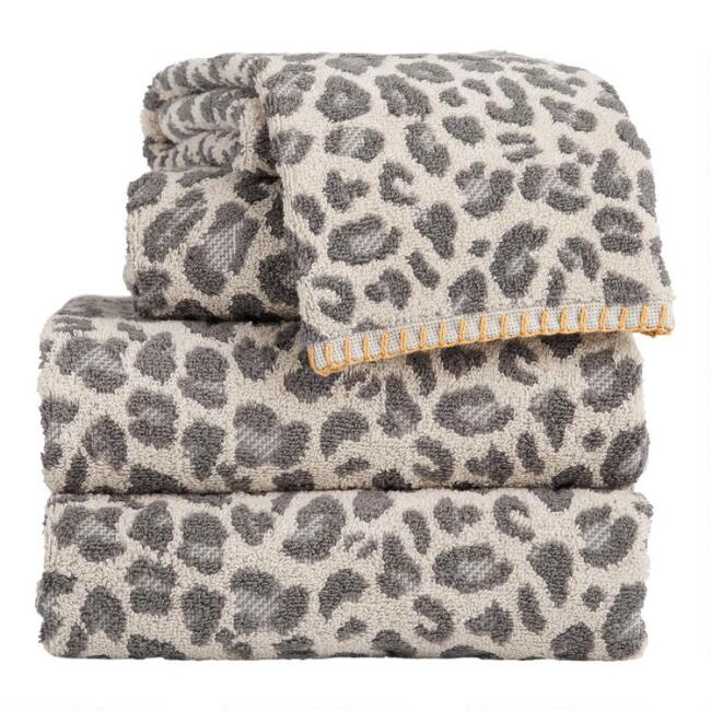 Gray and Ivory Leopard Print Towels