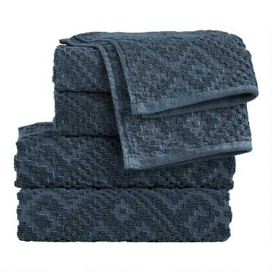 Indigo Sunfaded Sculpted Geo Nova Towels
