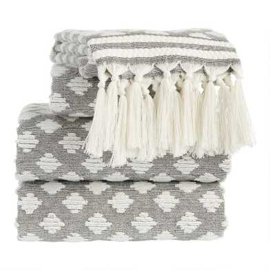 Black and White Sculpted Diamond Tassel Brea Towels