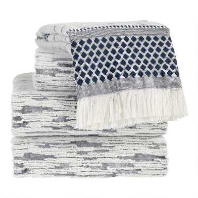 Indigo and Ivory Textured Sculpted Blythe Towels